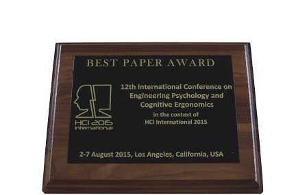 Engineering Psychology and Cognitive Ergonomics Best Paper Award. Details in text following the image.