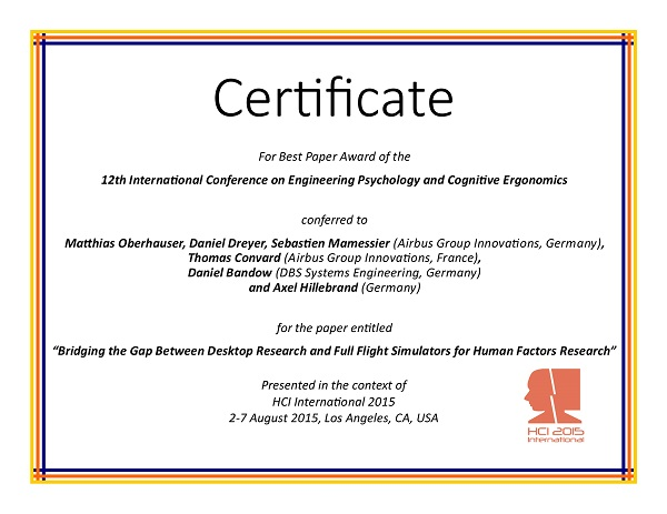 Certificate for best paper award of the 12th International Conference on Engineering Psychology and Cognitive Ergonomics. Details in text following the image