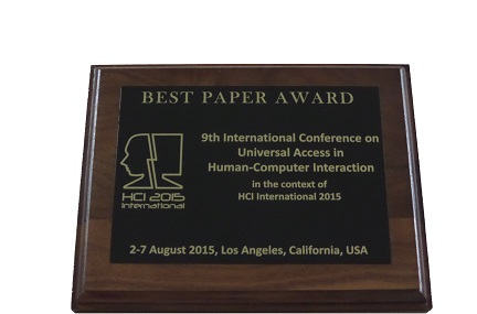 Universal Access in Human-Computer Interaction Best Paper Award. Details in text following the image.