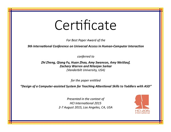 Certificate for best paper award of the 9th International Conference on Universal Access in Human-Computer Interaction. Details in text following the image