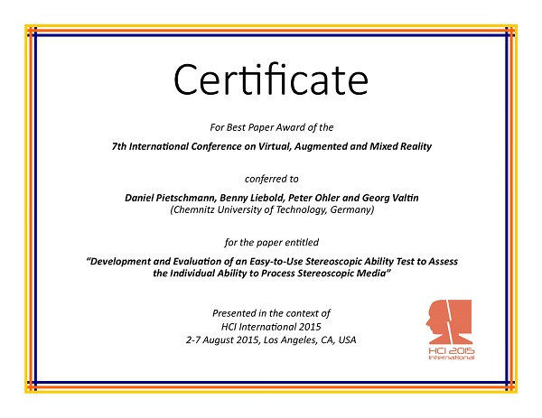 Certificate for best paper award of the 7th International Conference on Virtual, Augmented and Mixed Reality. Details in text following the image