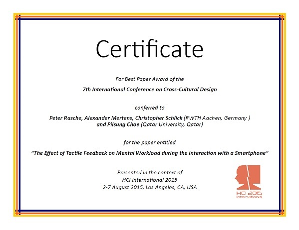 Certificate for best paper award of the 7th International Conference on Cross-Cultural Design. Details in text following the image
