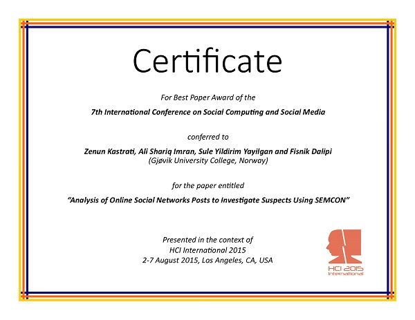 Certificate for best paper award of the 7th International Conference on Social Computing and Social Media. Details in text following the image