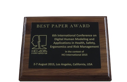 Digital Human Modeling and Applications in Health, Safety, Ergonomics and Risk Management Best Paper Award. Details in text following the image.