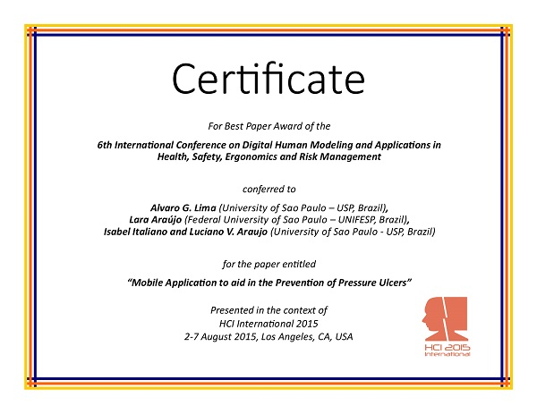 Certificate for best paper award of the 6th International Conference on Digital Human Modeling and Applications in Health, Safety, Ergonomics and Risk Management. Details in text following the image