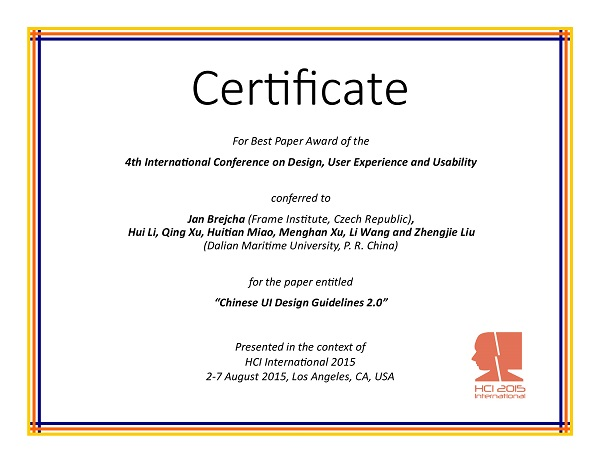 Certificate for best paper award of the 4th International Conference on Design, User Experience and Usability. Details in text following the image