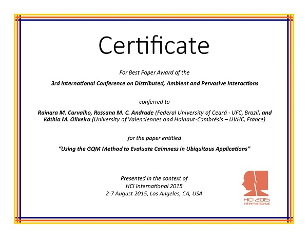 Certificate for best paper award of the 3rd International Conference on Distributed, Ambient and Pervasive Interactions. Details in text following the image