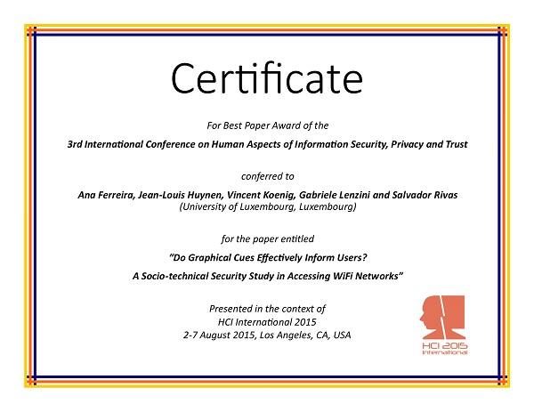 Certificate for best paper award of the 3rd International Conference on Human Aspects of Information Security, Privacy and Trust. Details in text following the image