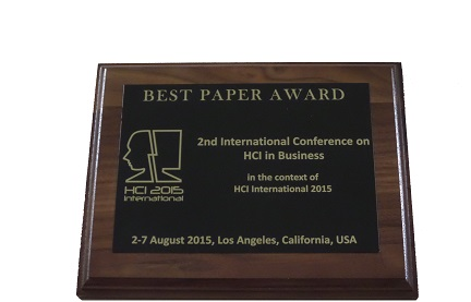 HCI in Business Best Paper Award. Details in text following the image.