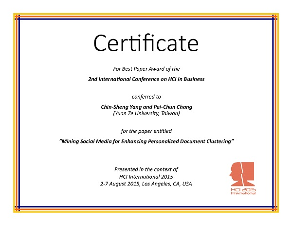Certificate for best paper award of the 2nd International Conference on HCI in Business. Details in text following the image
