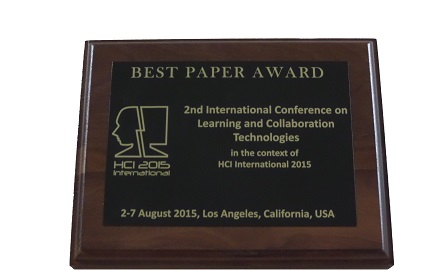 Learning and Collaboration Technologies Best Paper Award. Details in text following the image.