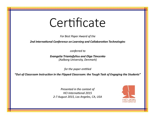 international conference certificate templates - learning and collaboration technologies best paper award