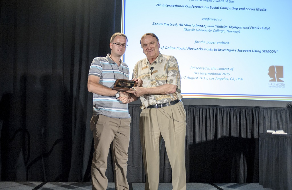 Best Paper Award for the 7th International Conference on Social Computing and Social Media